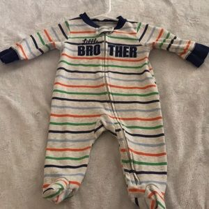 Stripped zipper onesie
